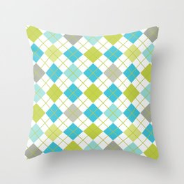 Retro 1980s Argyle Geometric Pattern in Modern Bright Colors Blue Green and Gray Throw Pillow
