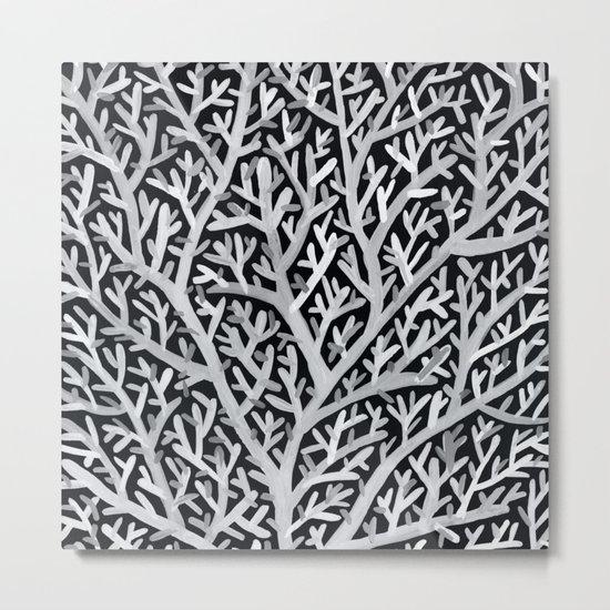 Fan Coral – White Ink on Black Metal Print
