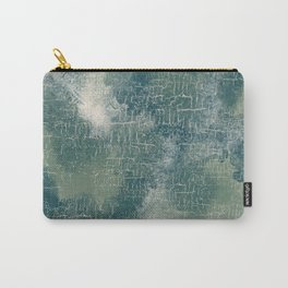Grunge Abstract Art in Teal, Olive Green and Cream Carry-All Pouch