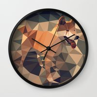 shiba inu Wall Clocks featuring Triangular shiba inu by Matěj Kašpar Jirásek