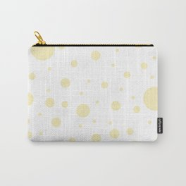 Mixed Polka Dots - Blond Yellow on White Carry-All Pouch