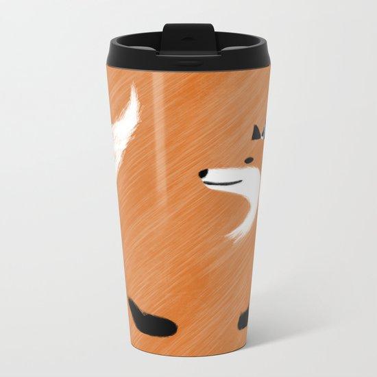 Unique Fox Design Metal Travel Mug