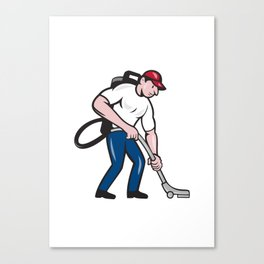 Commercial Cleaner Janitor Vacuum Cartoon Canvas Print