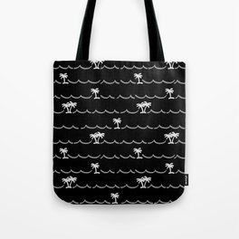 Tropica Night - black and white tropical pattern Tote Bag