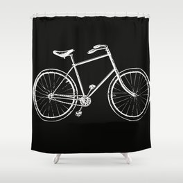 Bike on black Shower Curtain