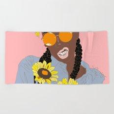 Black Flower Goddess - Digital Vector Drawing Beach Towel