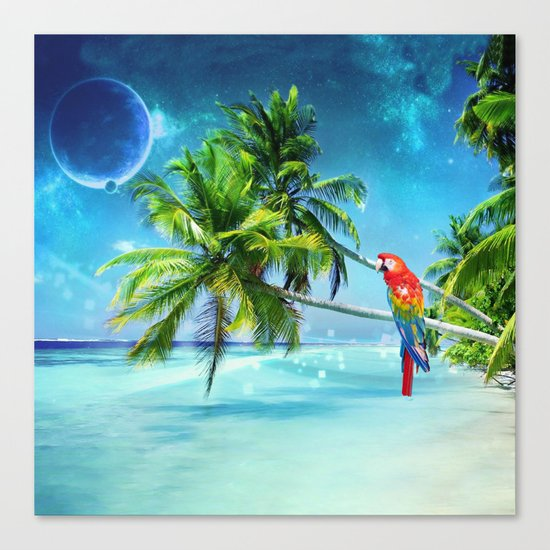 Parrot in the beach Canvas Print