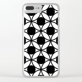Geometric Circles In Black & White Clear iPhone Case
