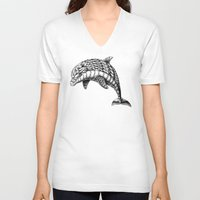ornate V-neck T-shirts featuring Ornate Dolphin by BIOWORKZ