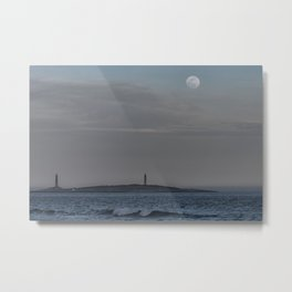 Worm moon over Thacher Island Metal Print
