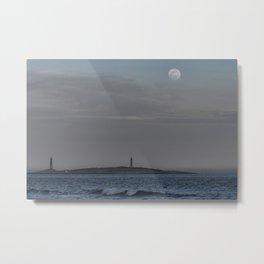 Worm moon over Thacher Island Metal Print