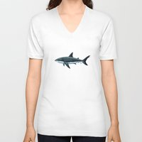 biology V-neck T-shirts featuring Carcharodon carcharias  ~ Great White Shark by Amber Marine