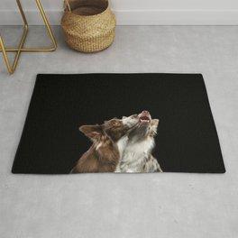 Two Border Collie dog Rug