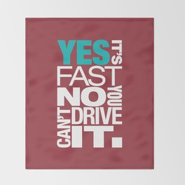 Yes it's fast No you can't drive it v2 HQvector Throw Blanket