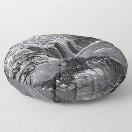 Ledge Falls, No. 4 bw Floor Pillow