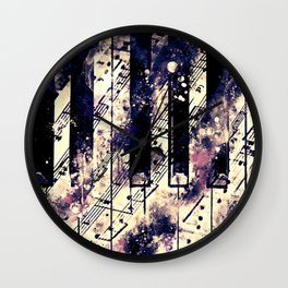 piano keys and music sheet pattern wsfn Wall Clock