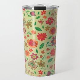 Spring Florals Yellow Travel Mug