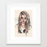 sky ferreira Framed Art Prints featuring Sky Ferreira by vooce & kat