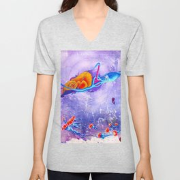 """""""Gods of the Sea"""" Whale,Colossal Squid ,jellyfish and diver Ocean Animal Art Unisex V-Neck"""
