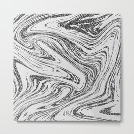 Modern abstract black and white glitter marble Metal Print