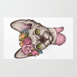 Hand drawn portrait of cute Sphinx cat with a wreath on head Rug