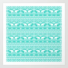 Elephant Tribal Mint Art Print