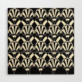 Art Deco Fans 1.3 Black Background Silver & Cream Wood Wall Art