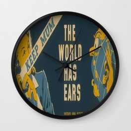 Vintage poster - The World Has Ears Wall Clock