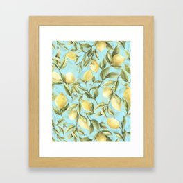mediterranean summer lemon branches on turquoise Framed Art Print