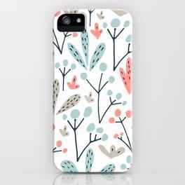 Coral Duck Egg Blue Greige Floral Leaves iPhone Case