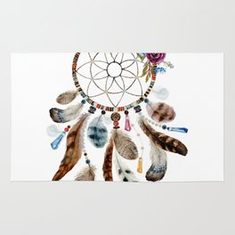 Flowers & tribal feathers dreamcatcher Rug