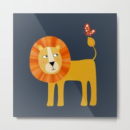 Lion Looking at a Butterfly Metal Print