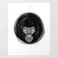 gorilla Art Prints featuring Gorilla  by dchristo