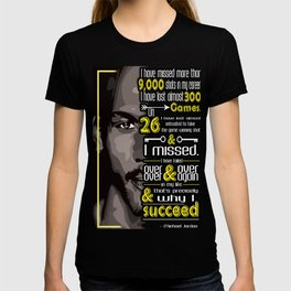I've missed more than 9000 shots in my career MJ Sport Player Motivating Quote Design T-shirt