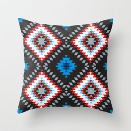 Colorful patchwork mosaic oriental kilim rug with traditional folk geometric ornament. Tribal style Throw Pillow
