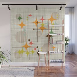 Mid Century Modern Starbursts and Globes 3a Wall Mural