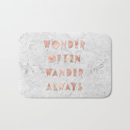 Wonder Often Wander Always Rose Gold and Marble Bath Mat