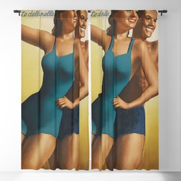 Vintage 1939 Suntan Lotion Diadermina by Gino Boccasile Lithograph Advertisement Blackout Curtain