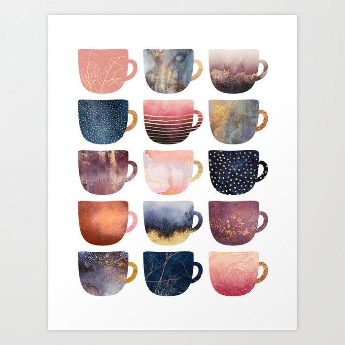 Pretty Coffee Cups 2 Art Print