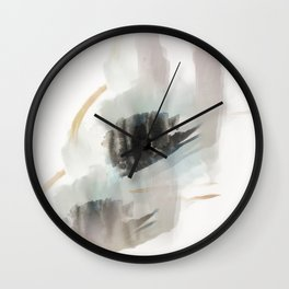 Build Me Up, Buttercup - a minimal acrylic and ink abstract piece in blue, black, and tan Wall Clock