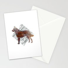 Modern Belgian Malinois Dog Watercolor Stripes Stationery Cards