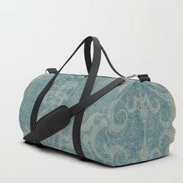 Antique rustic teal damask fabric Duffle Bag