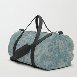 Antique rustic teal damask fabric Duffle Bag