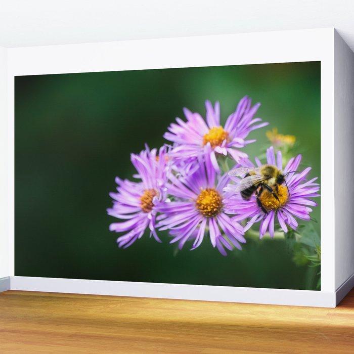 Bee Vibrant Beautiful Purple Flowers Wall Mural