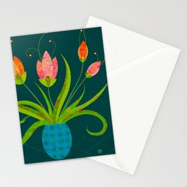 Tulips in Blue Vase on Inky Teal Stationery Cards