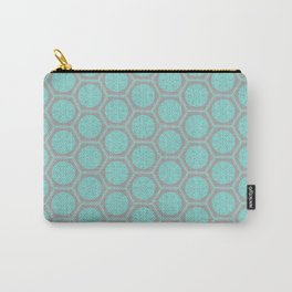 Hexagonal Dreams - Grey & Turquoise Carry-All Pouch