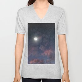 Glowing Moon on the night sky through pink clouds Unisex V-Neck