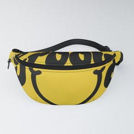 Groovy Smile // Black Smiley Face Fun Retro 70s Hippie Vibes Mustard Yellow Lettering Typography Art Fanny Pack