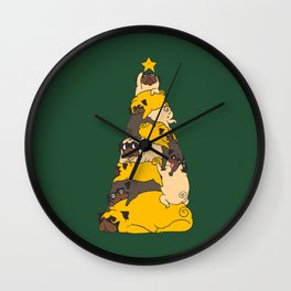 Christmas Tree Pugs Wall Clock