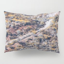 blooming yellow poppy flower field over the mountain in California, USA Pillow Sham